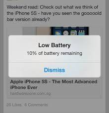 apple ios7 low battery screen