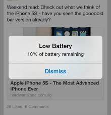 apple ios7 low battery screen