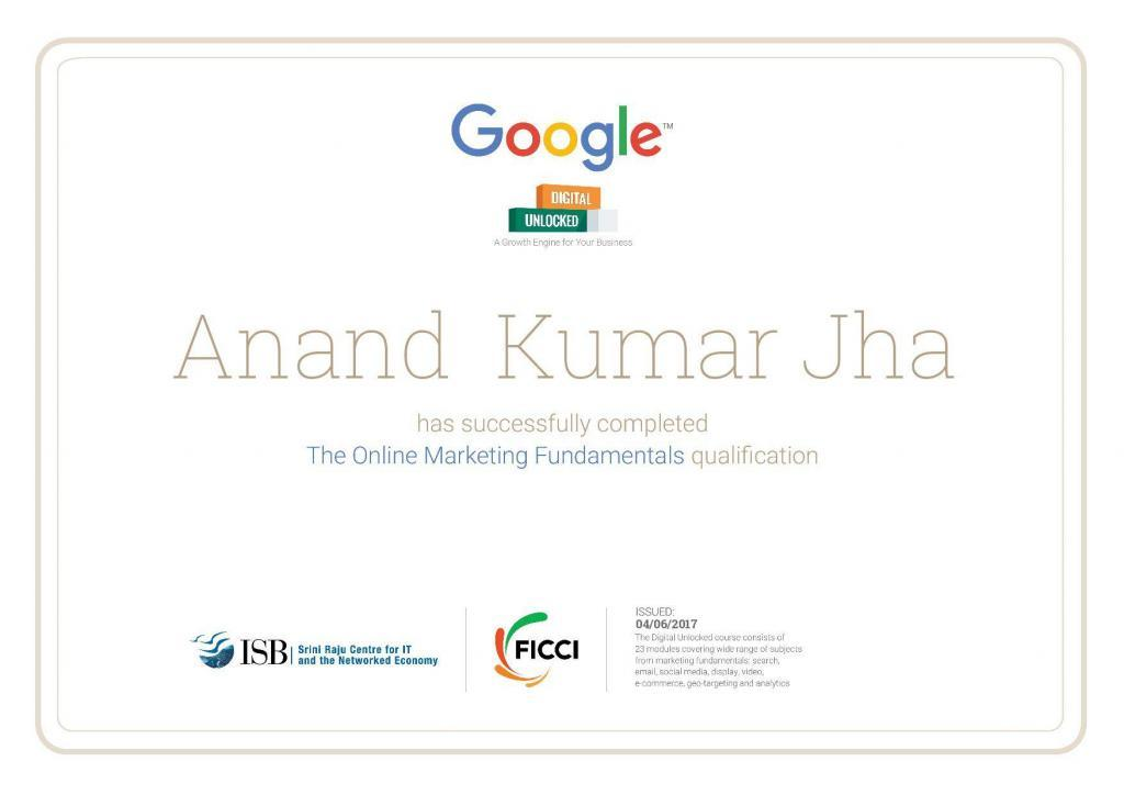 Digital Unlocked Certification 2017 achieved by Anand Kumar Jha, best SEO Expert in Chandigarh, India
