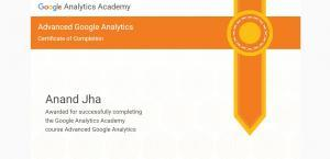 Google analytics Advanced Course 2017 Certification achieved by Anand Kumar Jha, Best SEO Expert in Chandigarh, India