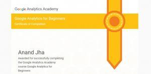 Google analytics Beginners Course 2017 Certification achieved by Anand Kumar Jha, Best SEO Expert in Chandigarh, India