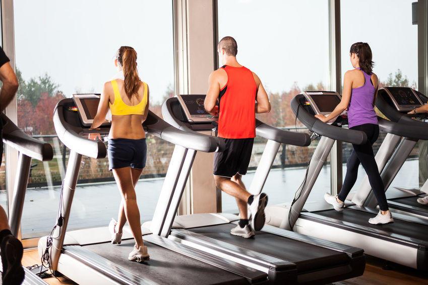treadmill running in gym