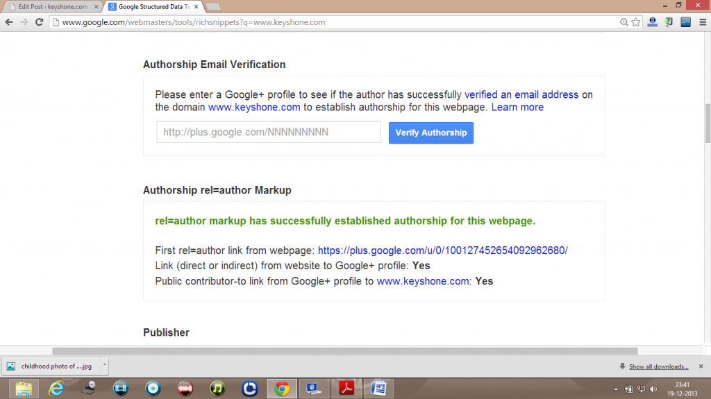 authorship verification g+ account