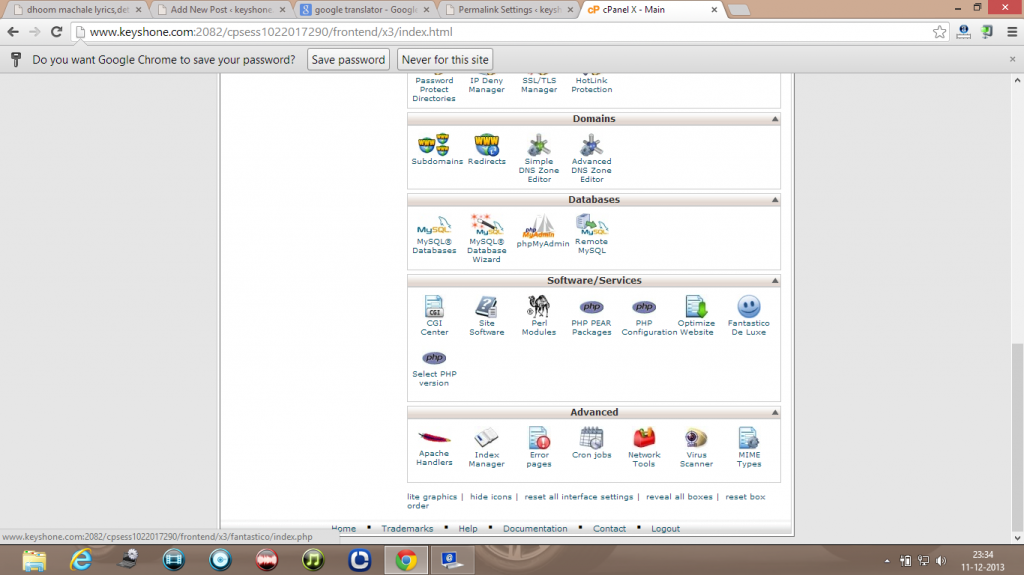 wordpress cpanel fantastico option page