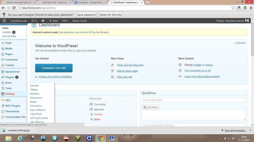 wordpress setting dashboard