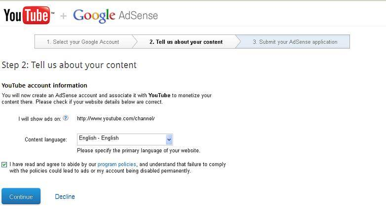 google adsense account start