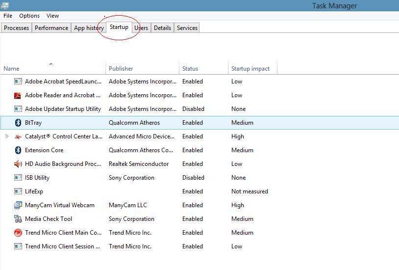 windows 8 startup option