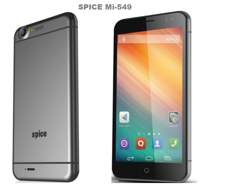 Spice Mi-549 and iPhone 6 plus Design are very near similar.It looks a lot like the iPhone 6 Plus. Price of Spice Mi-549 is @ Rs. 7,999