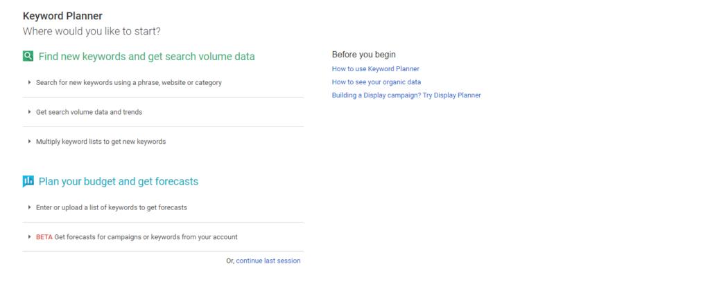 Google adword keyword research tool
