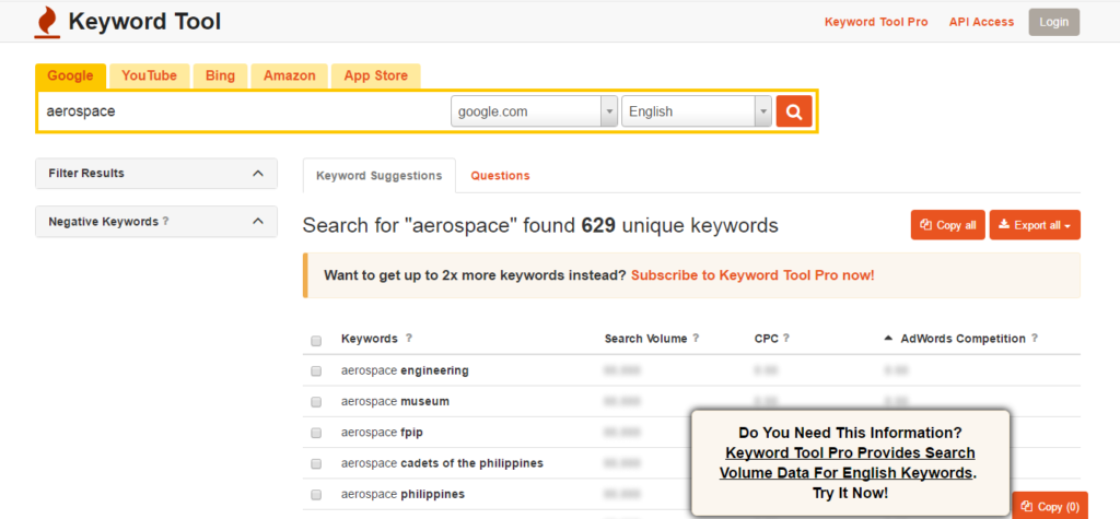 keywordtool.io research tool for SEO beginners