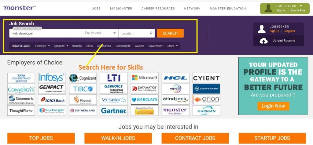 skill search for jobs after btech